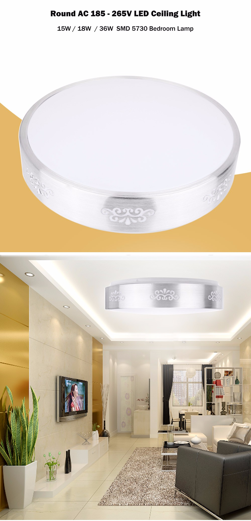 Round 35CM 15W 1200LM AC 185 - 265V SMD 5730 LED Ceiling Light Bedroom Lamp