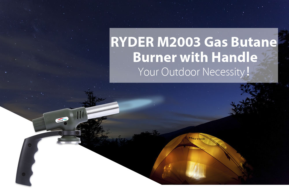 RYDER M2003 Gas Flamethrower Butane Burner with Handle Electronic Ignition for Outdoor Travel Camping Welding BBQ