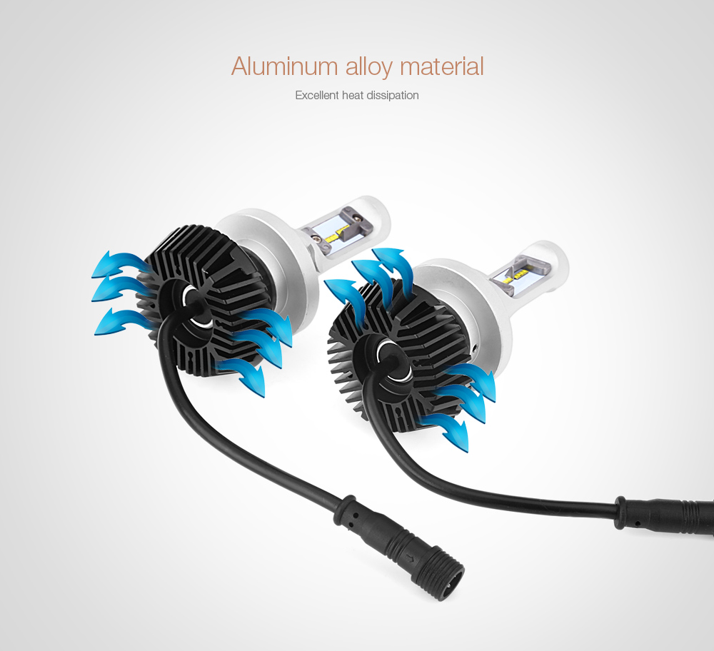 Pair of 9008 / H13 Automobile Integrated LED Headlight 6500K Water Resistance Heat Dissipation 60W Bright Vehicle Lamp
