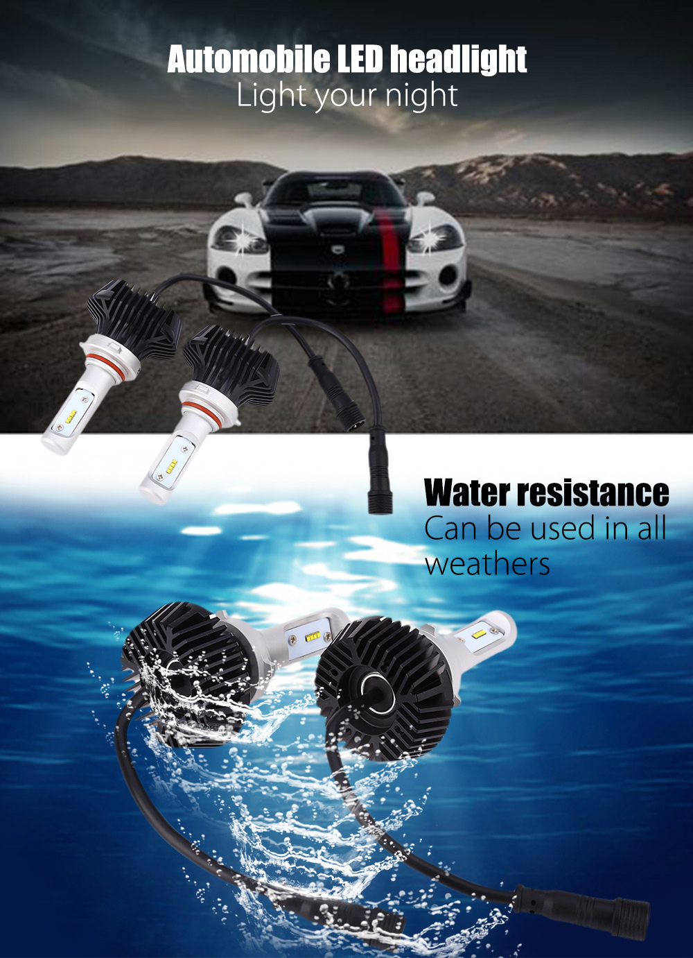 Pair of 9005 / 9006 / 9145 / H10 / HB3 / HB4 Automobile Integrated LED Headlight 6500K Water Resistance Heat Dissipation