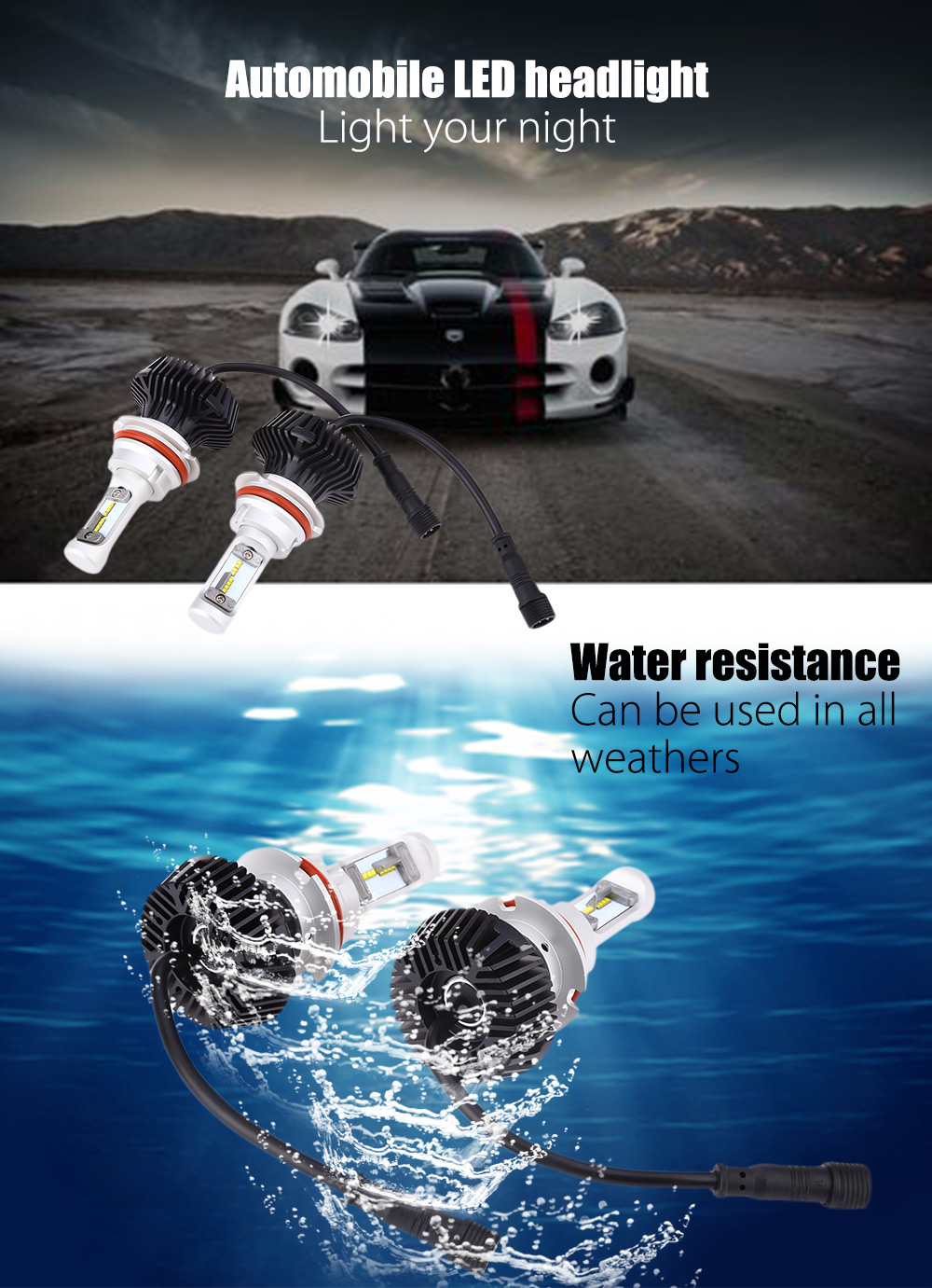 Pair of 9004 / 9007 Automobile Integrated LED Headlight 6500K Water Resistance Heat Dissipation 60W Bright Vehicle Lamp