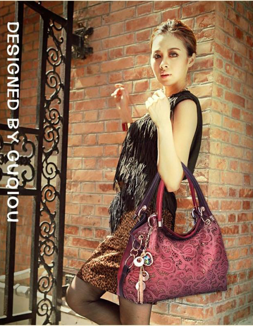 Fashionable Hollow Print Accessories Decoration Women Hand Bag
