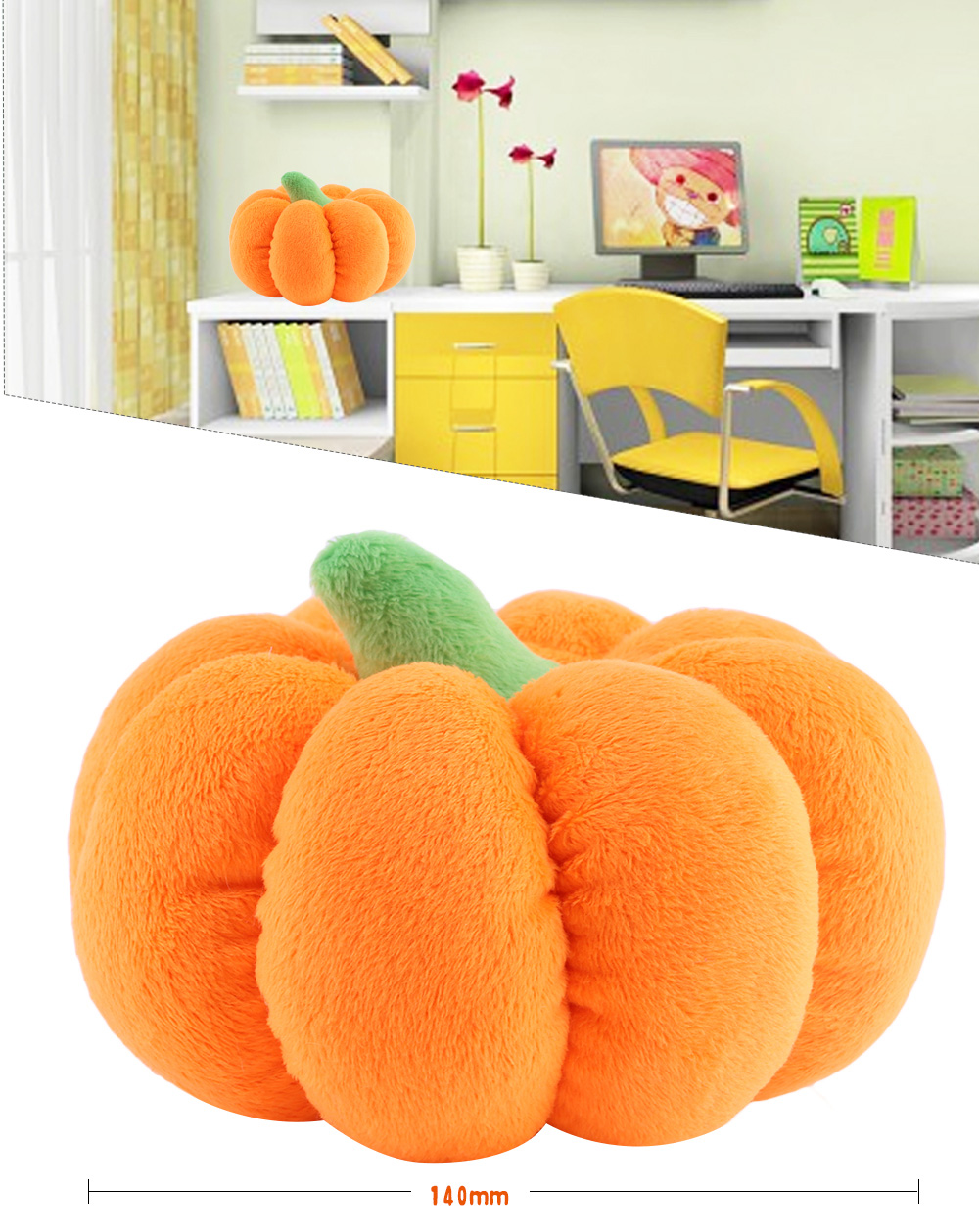 140mm Baby Stuffed Lovely Simulation Pumpkin Plush Doll Toy Birthday Christmas Gift
