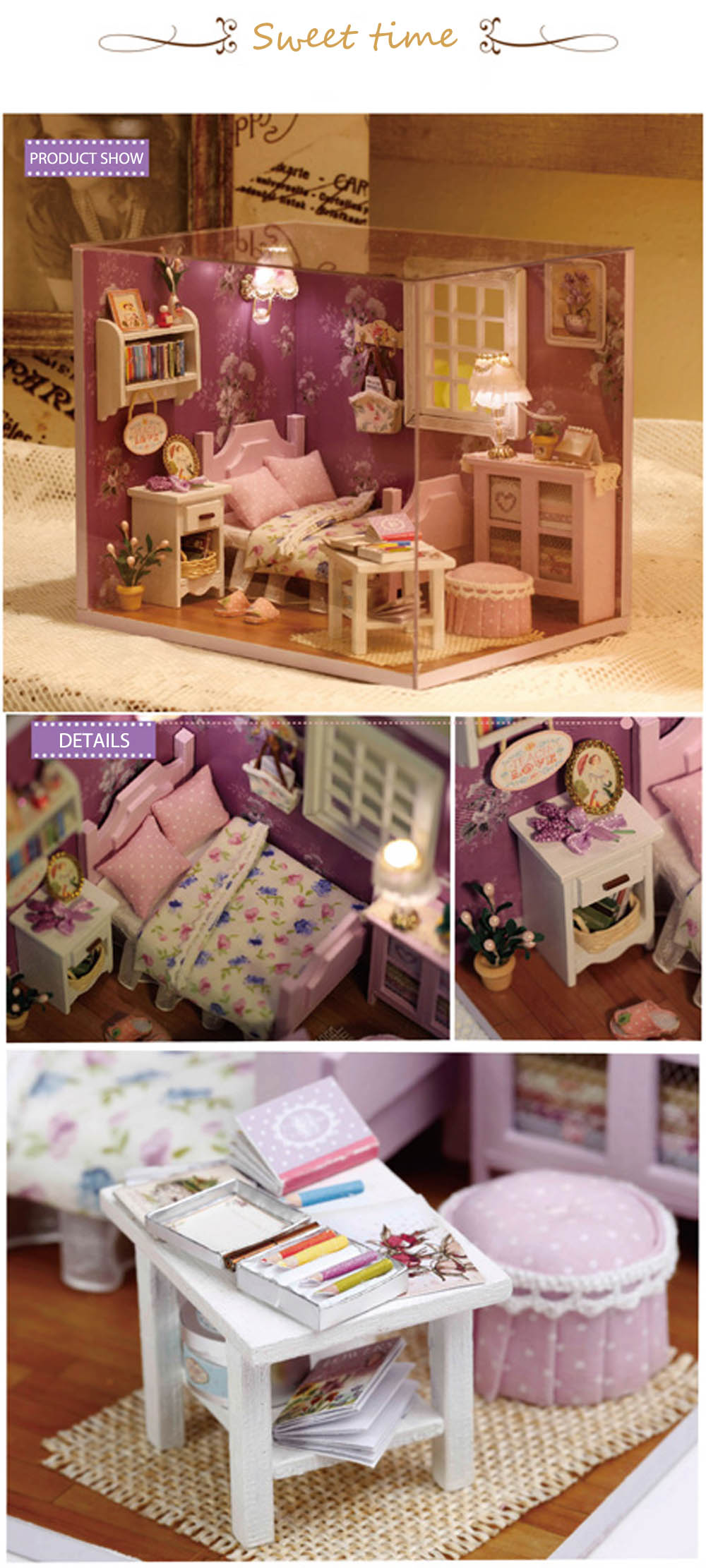 CUTEROOM H - 003 DIY Wooden House Furniture Handcraft Miniature Box Kit