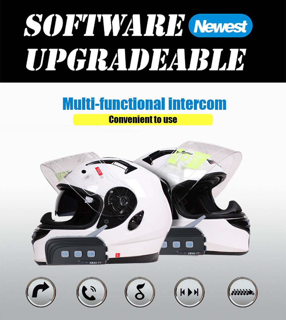 Pair of EJEAS - TTS Motorcycle Bluetooth 4.0 Riding Intercom Four People Full Duplex Talking Waterproof Inter-phone