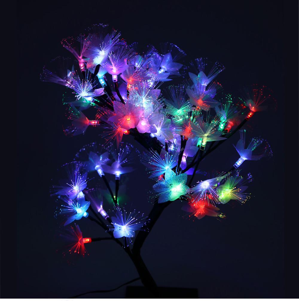 2W Slow Flash LED Colorful Desk Top Fiber Optic Blossom Tree Light Decoration Lamp for Party Festival with 56 LEDs