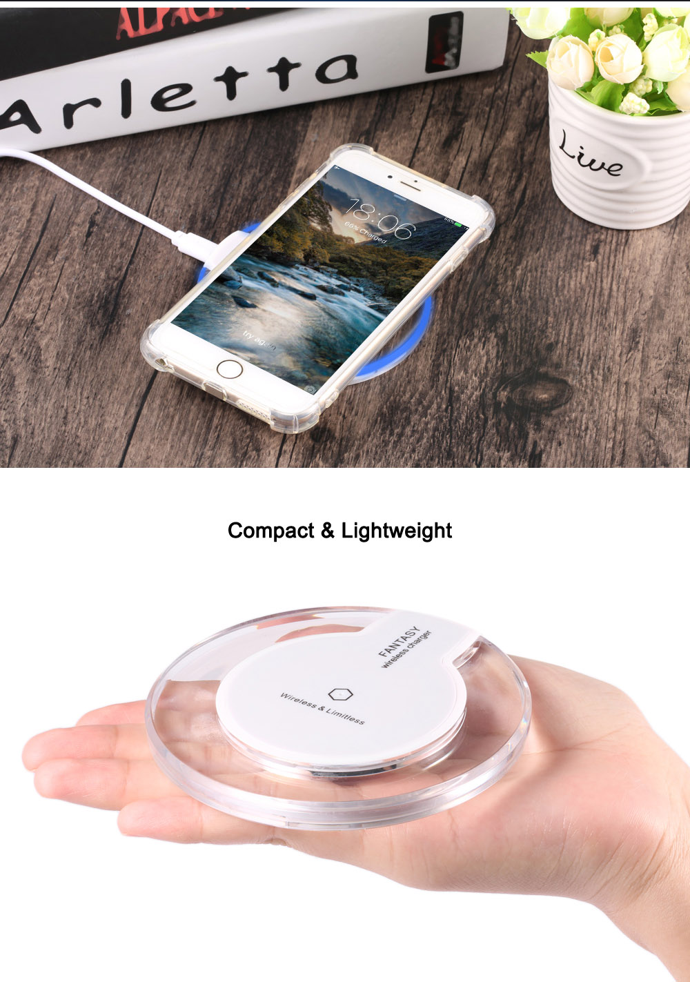 Crystal Clear Qi Wireless Charger + Charging Receiver + Transparent Protection Case for iPhone 6 Plus / 6S Plus