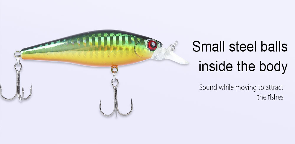 TSURINOYA Outdoor 3 Colors Fishing Lure Fish Bait Crankbait Tackle with Hook