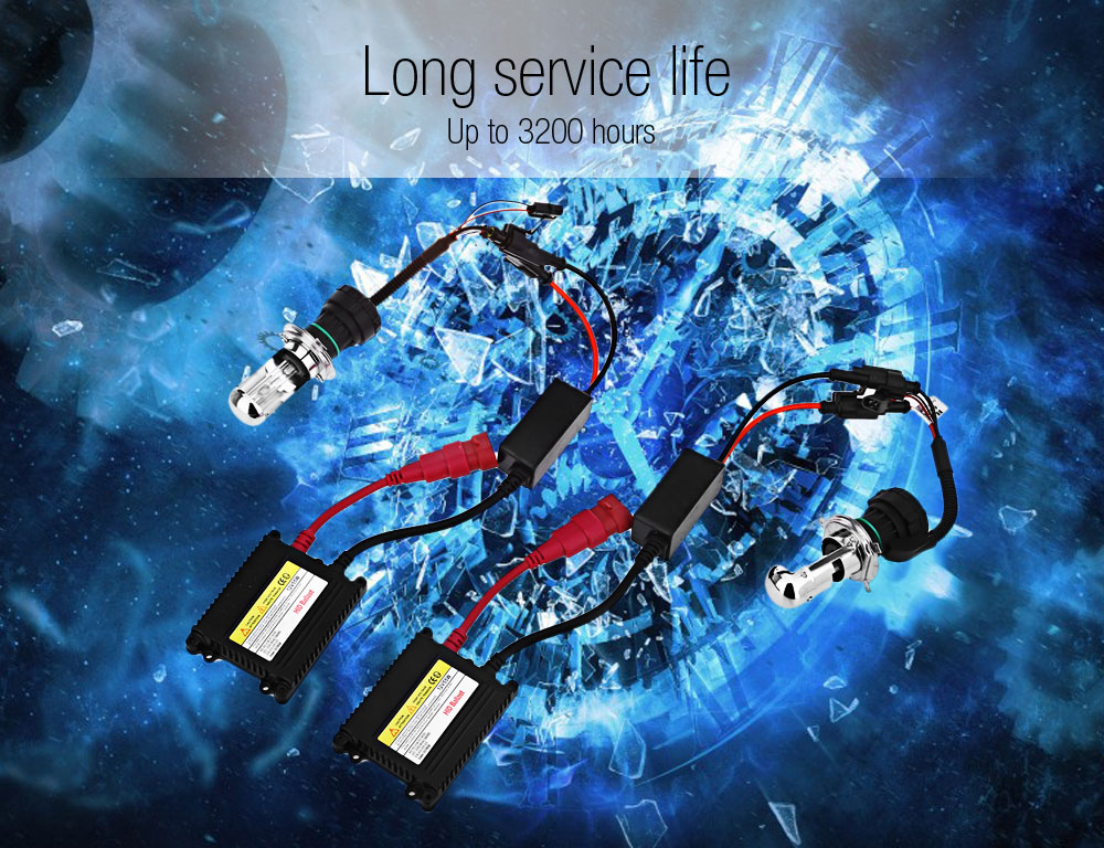 12V 55W 6000K Universal Car Headlight Slim DC230 Ballast Kit Xenon Conversion Replacement Bulbs Lamps H4 - 3
