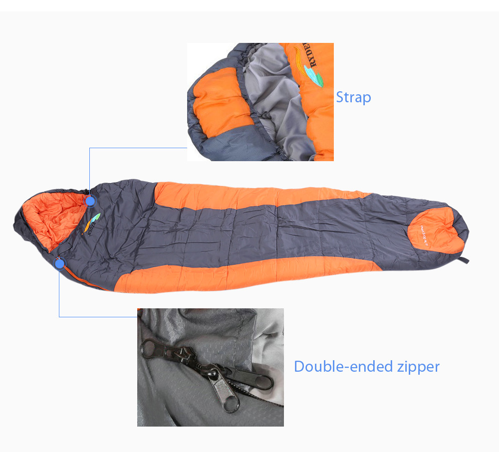 RYDER D1006 Outdoor Camping Hiking Travel Envelope Shape Thicken Cotton Sleeping Bag