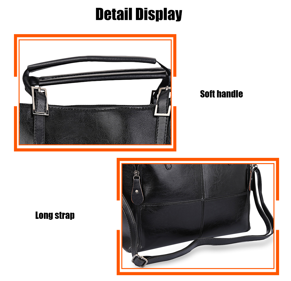 Stylish Cross Pattern Spliced Pure Color Women Portable Bag