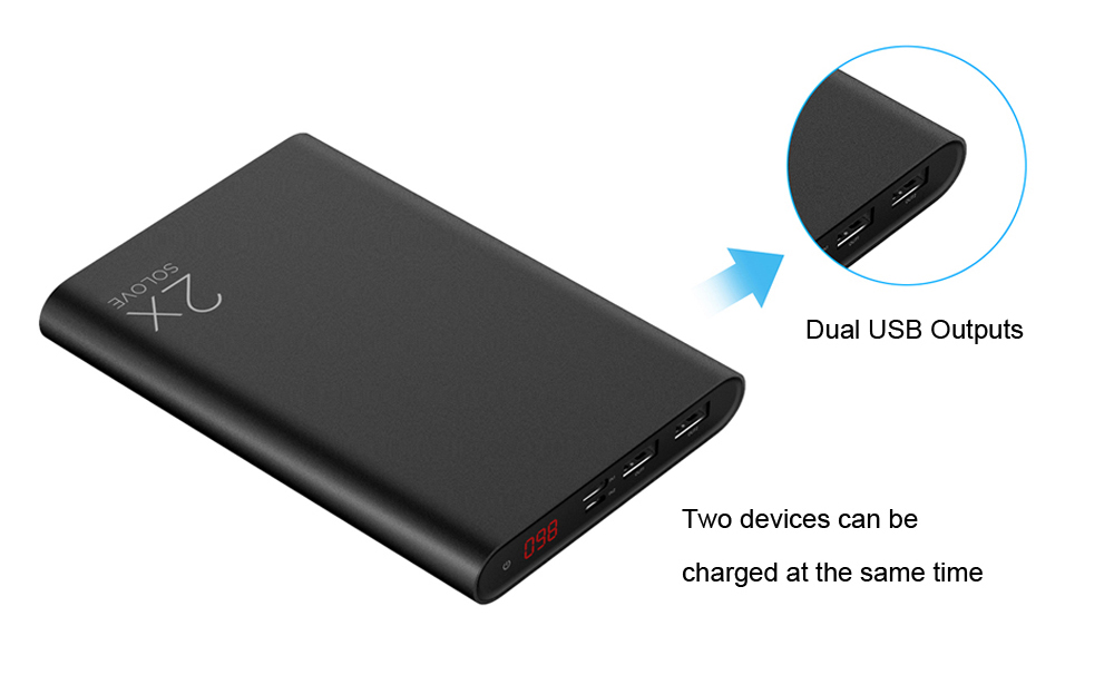SOLOVE A8S 20000mAh 2.4A Dual USB Outputs Quick Charge Portable Universal External Battery