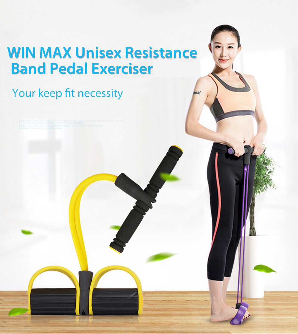 WIN MAX Fitness Resistance Band Pedal Exerciser Sit Up Pull Rope Yoga Body Equipment