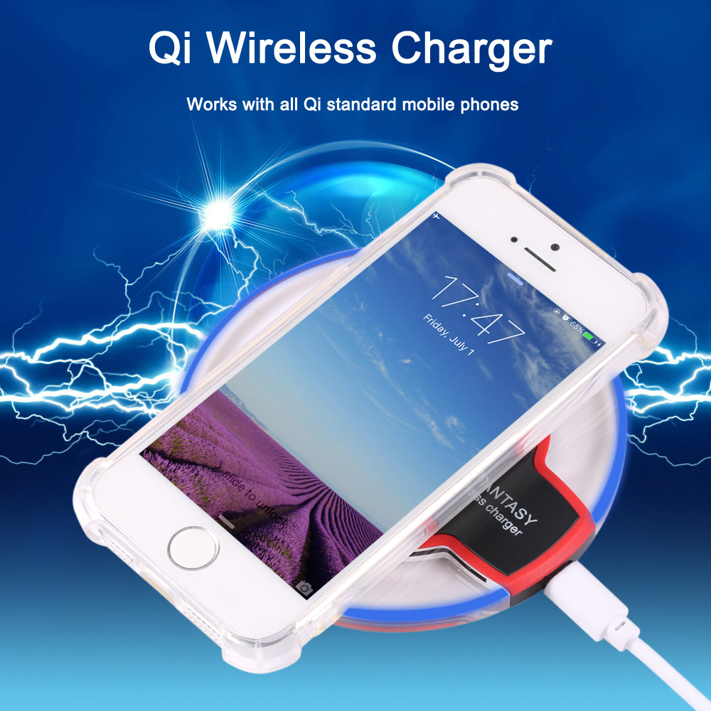 Crystal Clear Qi Wireless Charger + Charging Receiver + Transparent Protection Shell for iPhone 5 / 5S / SE