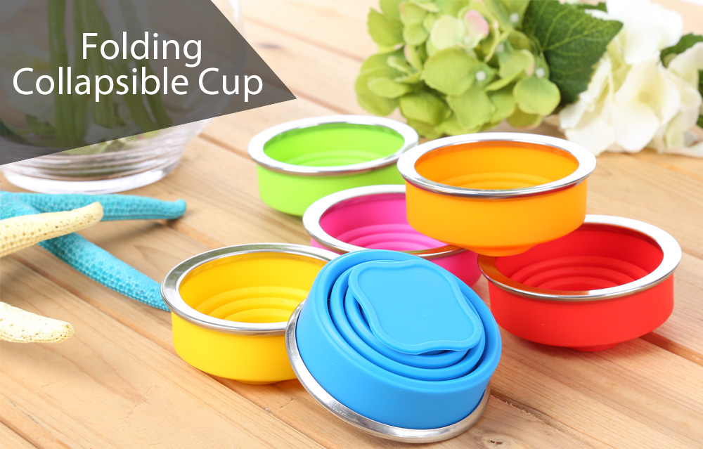 Outdoor Camping Hiking Mountaineering Silicone Folding Collapsible Cup