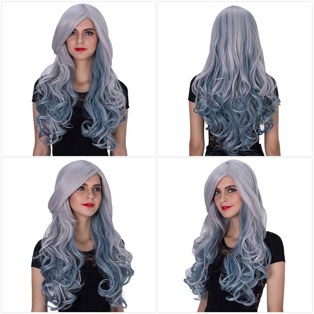 Harajuku Ombre Long Wavy Mixed Colors Synthetic Wigs with Side Bangs