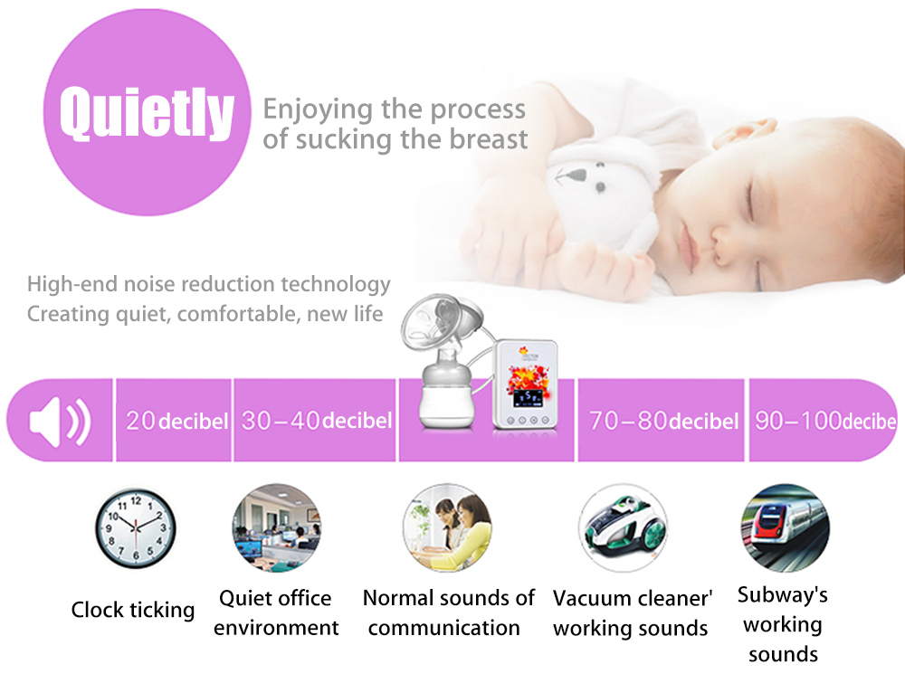 ZIMEITU RH288 Double Intelligent Electric Massage Noise Reduction Frequency Conversion Backflow Protection Large LCD Display BPA Free Breast Pump