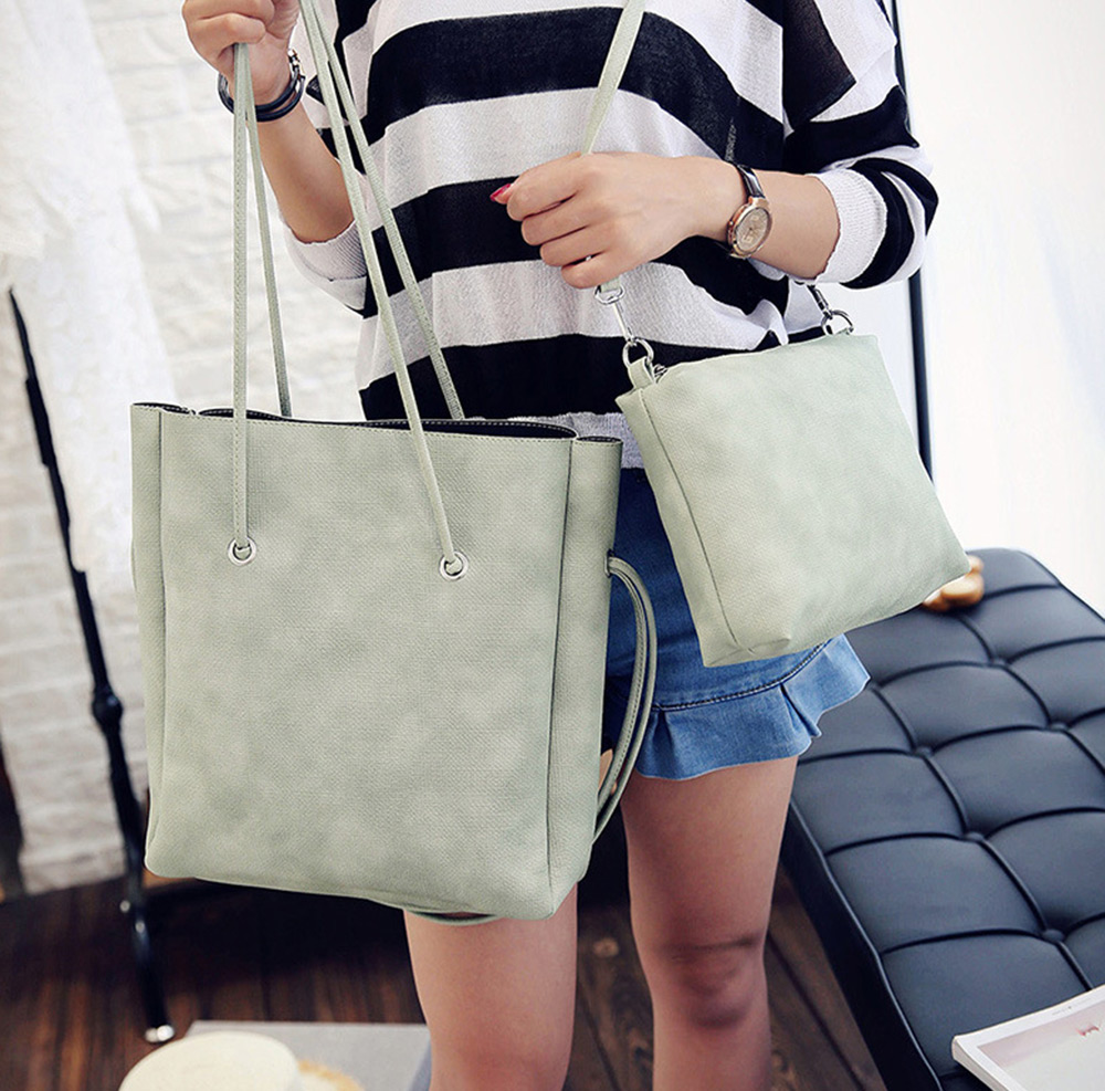 Fashionable 2pcs PU Leather Pure Color Multifunctional Strap Women Bucket Bag