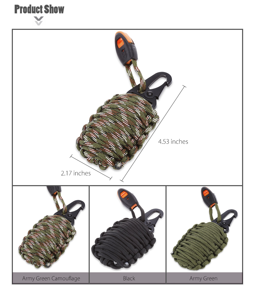 Paracord Grenade Bracelet Keychain Emergency Survival Kit with Carabiner Eye Knife Fire Starter Fishing Tool