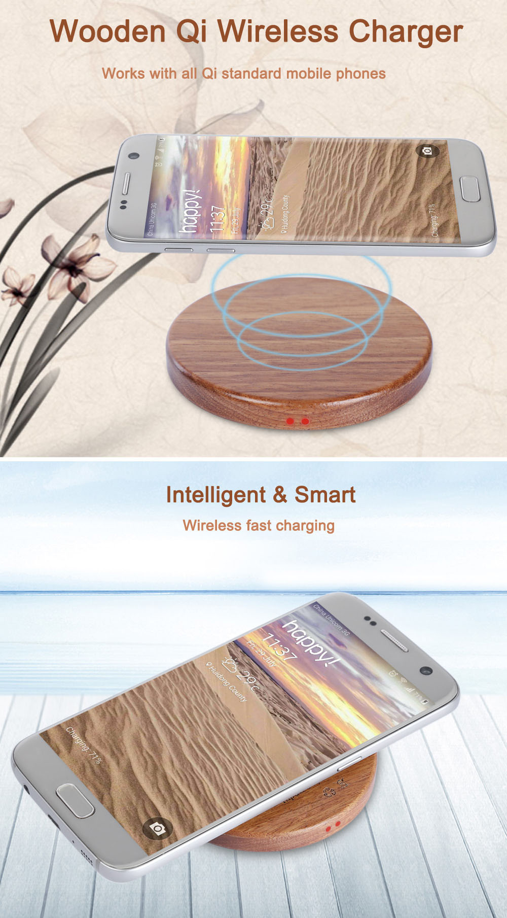Wooden Mini Qi Wireless Charger Charging Pad
