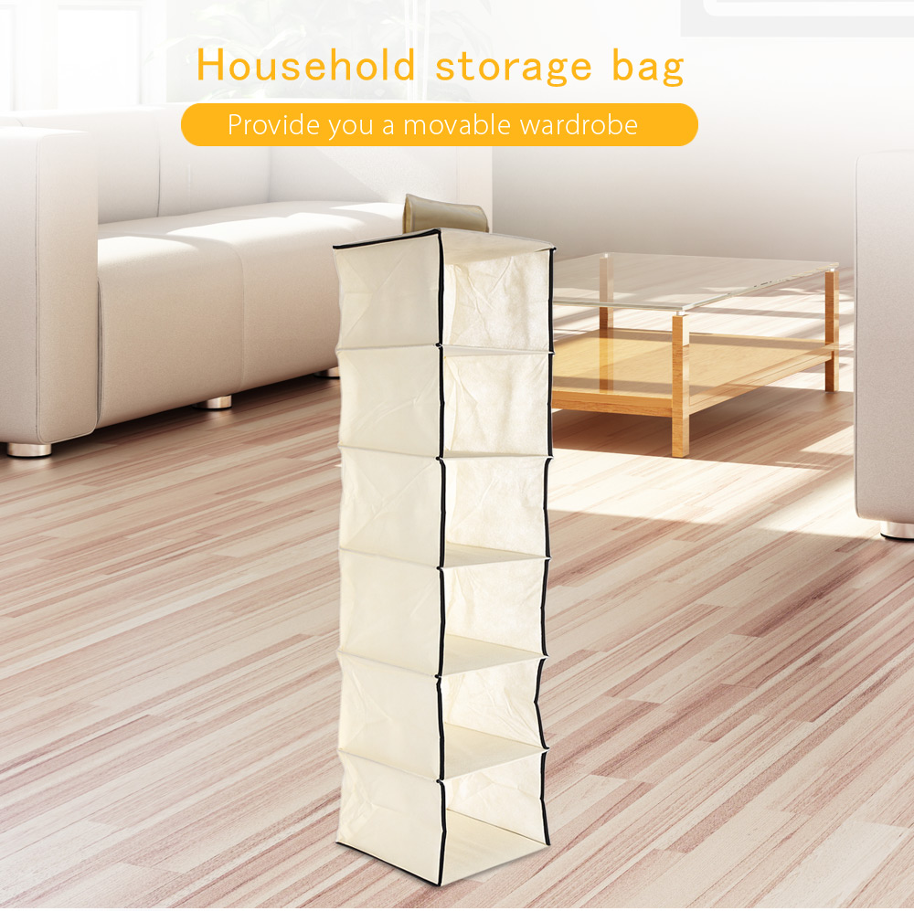 Non-woven Fabric Wardrobe Closet Storage Bag Multi-layer Hanging Clothes Shoes Pocket