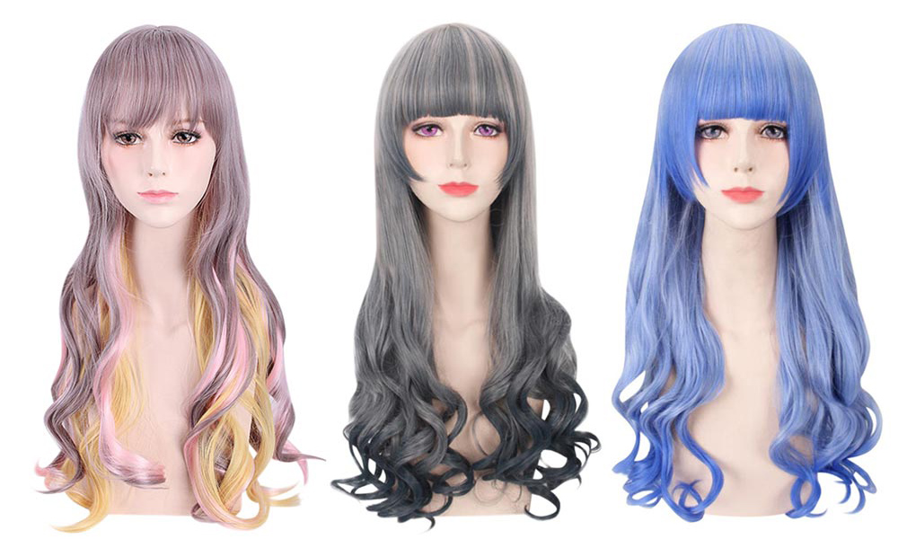 Women Colorful Harajuku Cosplay Long Loose Curly Synthetic Wig