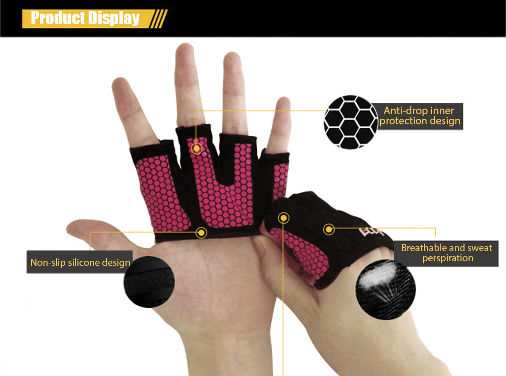 BOER Paired Yoga Exercise Workout Gloves Fitness Training Weightlifting Hand Grip Palm Protector