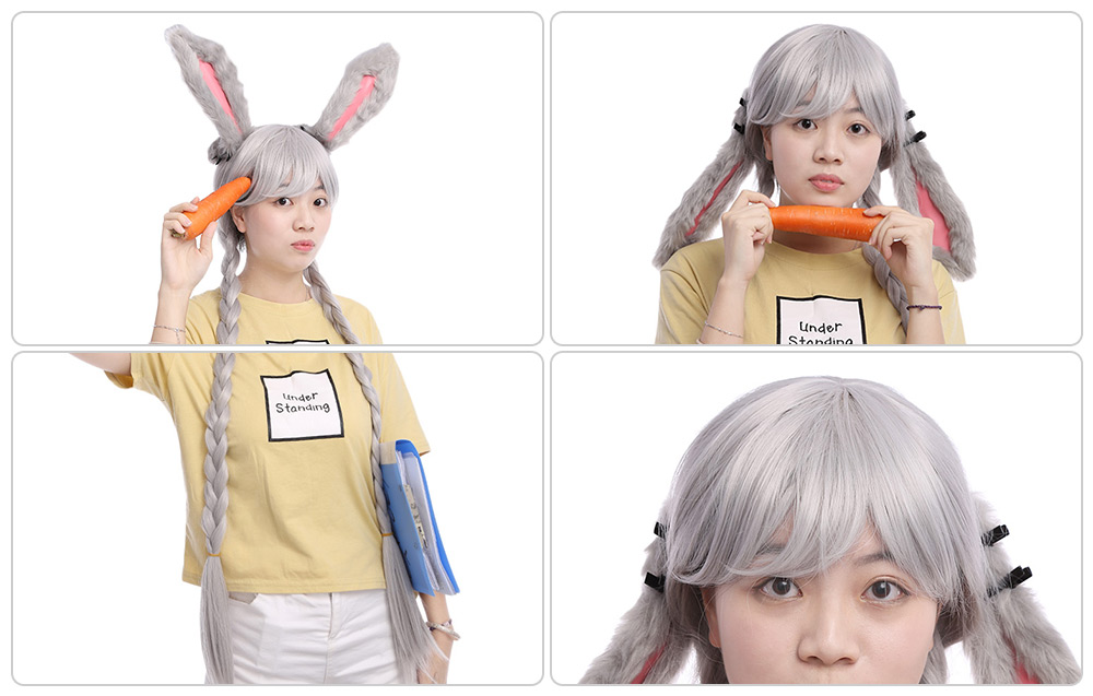 Funny Animal Cosplay Rabbit Gray Wig with Ears Double Braids for Halloween Christmas Carnival Party Costume