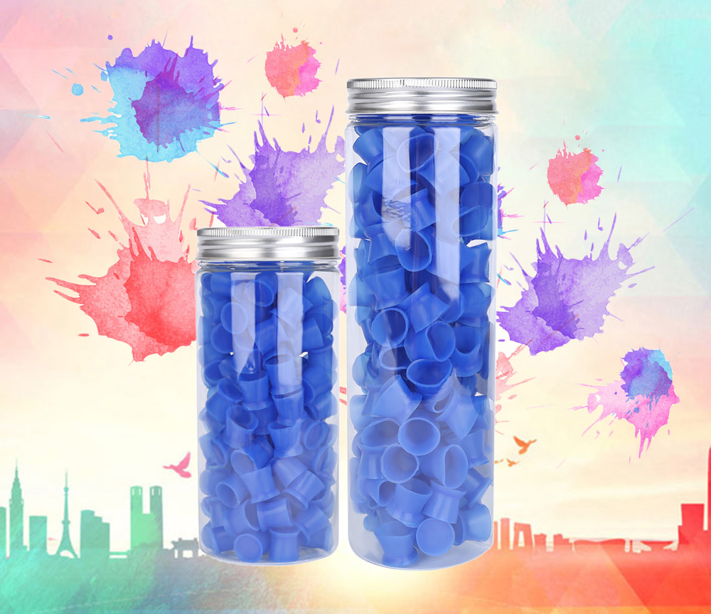130pcs / Box Blue Color Silicone Tattoo Ink Cups with Base Pigment Cap
