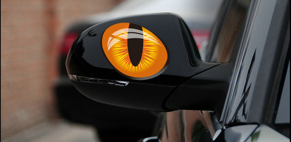 Paired Universal Car Sticker Horrific Cat Eye Styling Reflective Cover Decal Decoration Paster