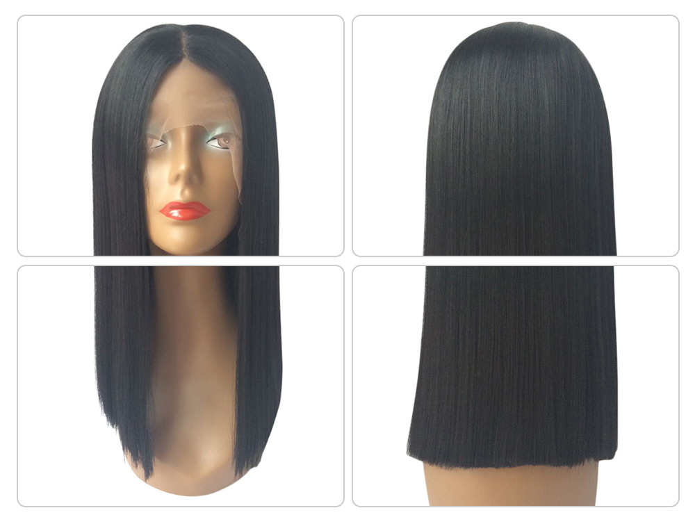 Silky Straight Short Hair Cutting Bob Wig Heat Resistant Synthetic Lace Front for Black Women