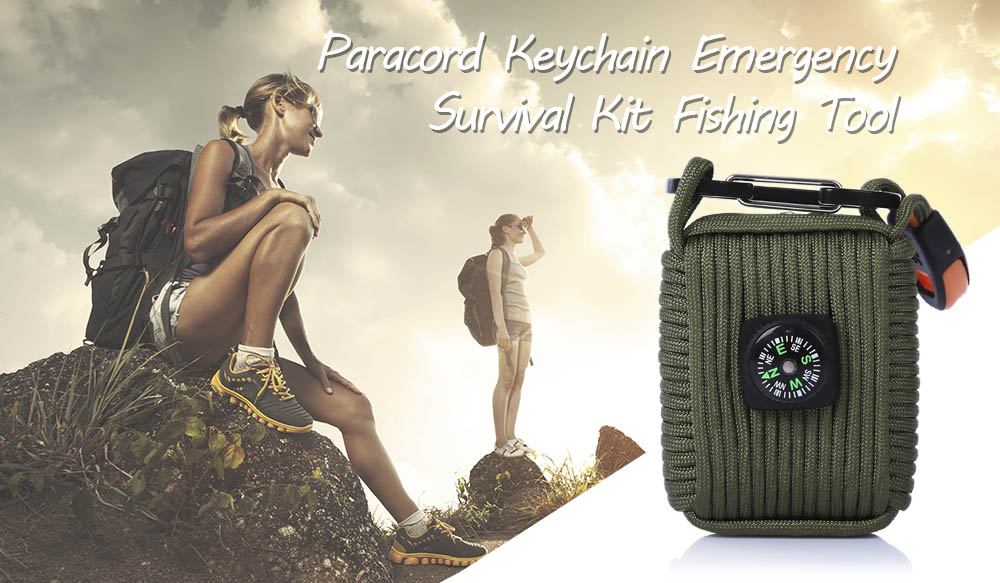 Paracord Keychain Emergency Survival Gear First Aid Kit with Carabiner Whistle Compass Fire Starter Fishing Tool