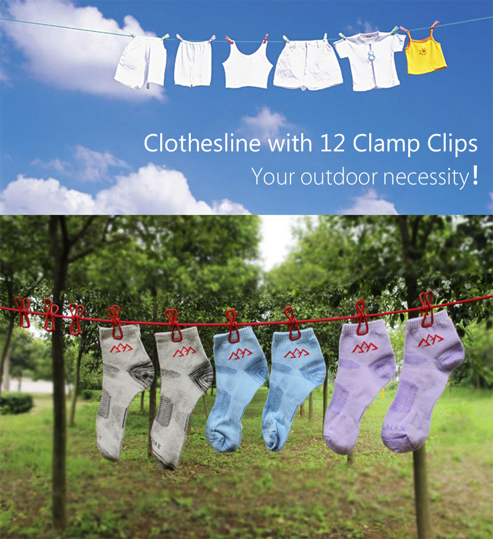 Outdoor Camping Travel Portable Stretchy Clothesline Windproof with 12 Clamp Clips