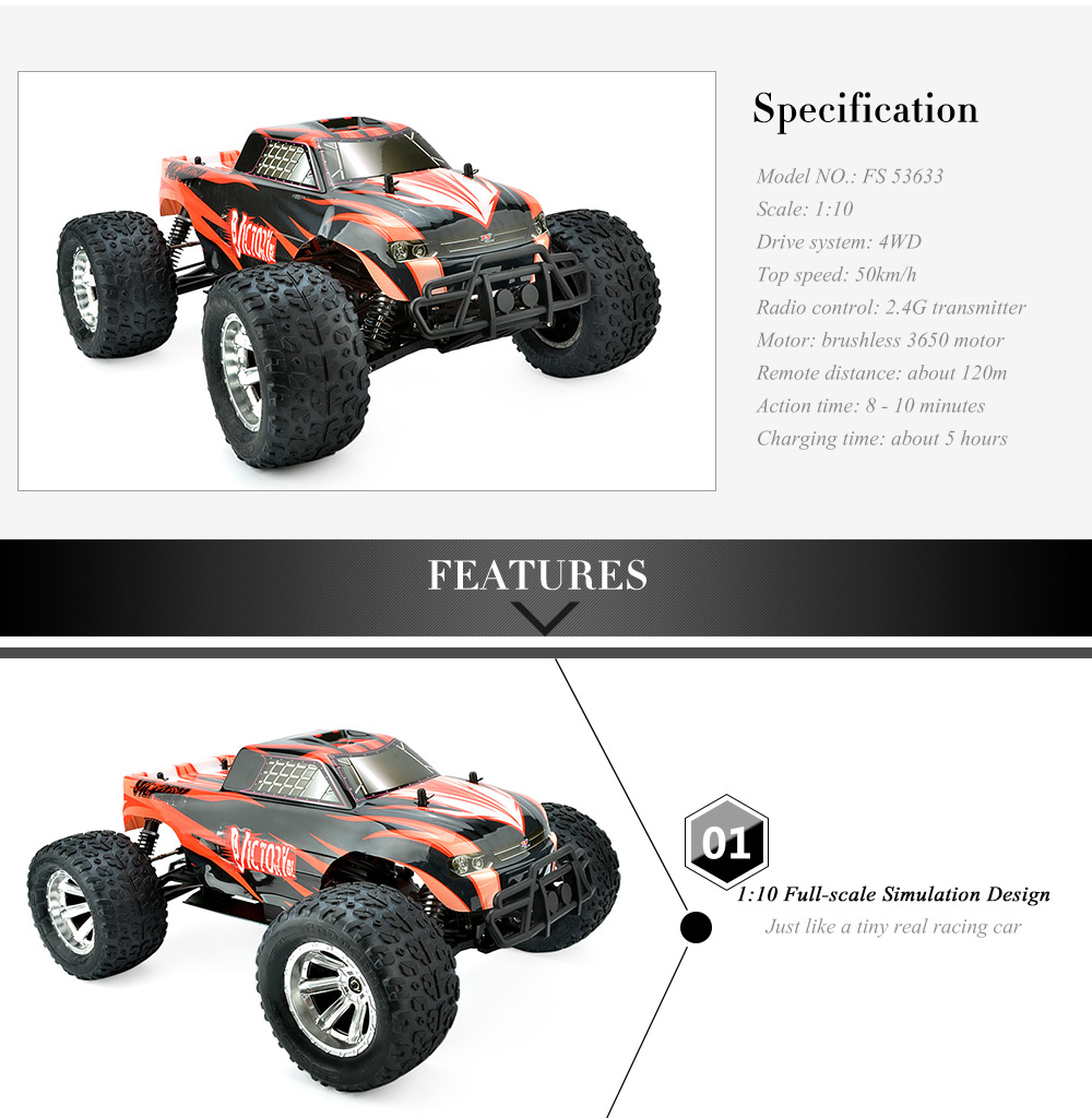 FS 53633 1:10 Scale 2.4G High Speed 4WD Remote Control Electrical Car Brushless Motor