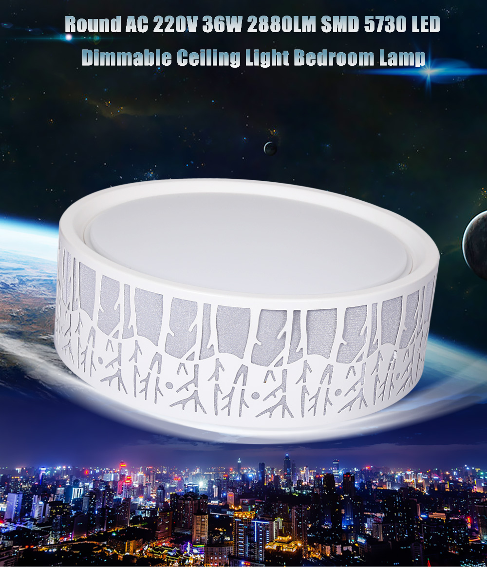 Round AC 220V 36W 2880LM SMD 5730 LED Dimmable Ceiling Light Bedroom Lamp