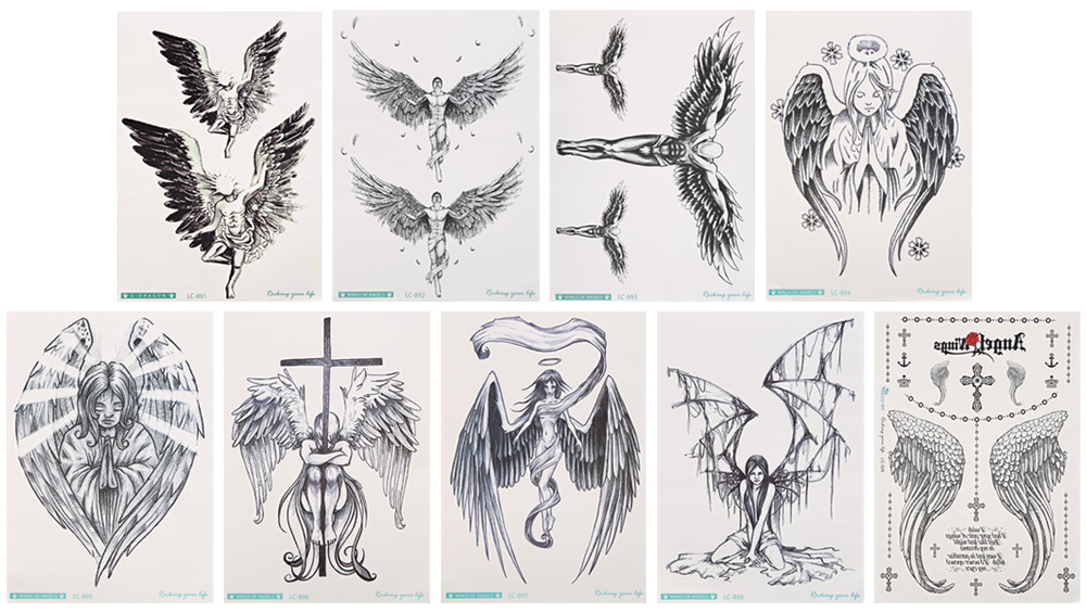 Waterproof Temporary Tattoo Stickers Flower Arm Angel Wing for Christmas Gift Makeup Body Art