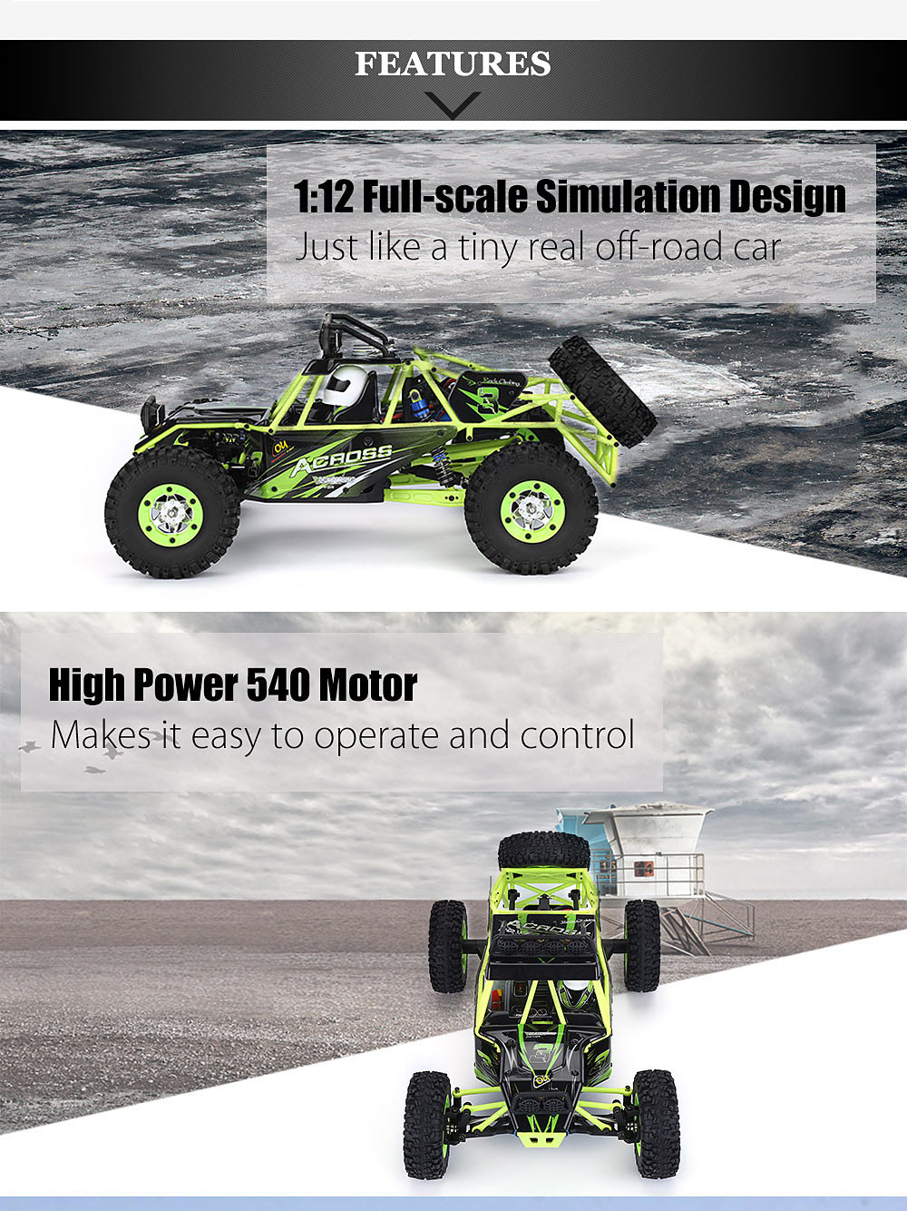 WLtoys 12428 scala di 1:12 2.4G 4WD RC Off-road Car