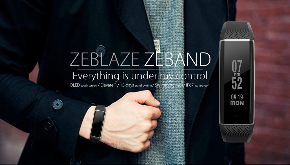 Zeblaze ZeBand Heart Rate Monitor Smart Wristband with 15m Bluetooth Connected Distance