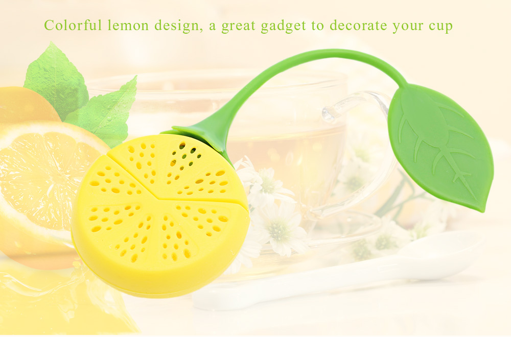 Colorful Novelty Silicone Lemon Shape Mesh Tea Infuser Reusable Strainer