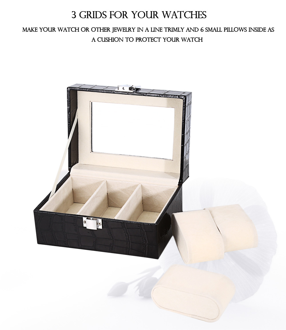 3 Slots Leather Watch Container Transparent Glass Display Jewelry Storage Organizer