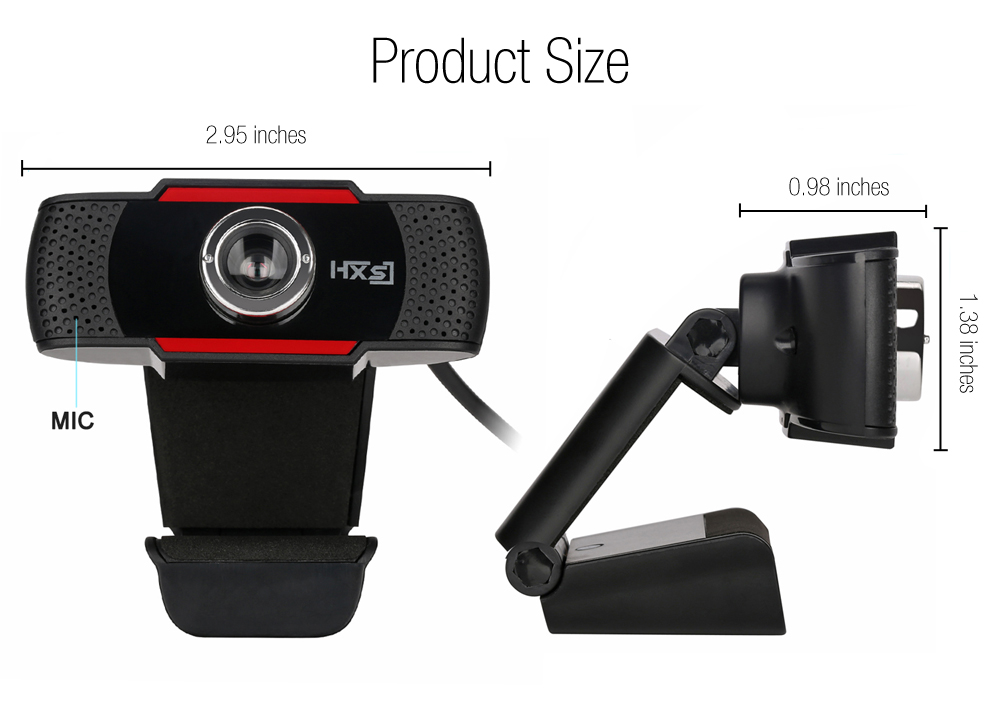 HXSJ S20 0.3 Megapixel HD Camera Webcam with Microphone Clip-on 30 Degree