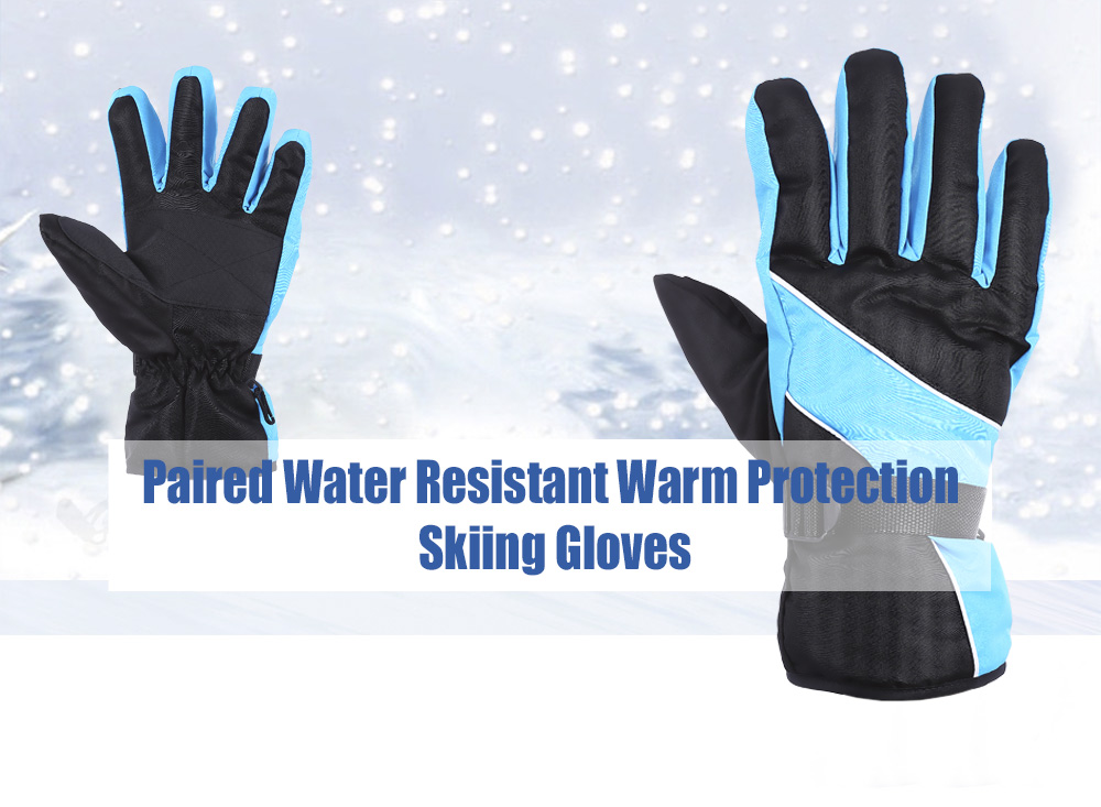 Paired Outdoor Motorcycle Water Resistant Windproof Warm Protection Anti-slip Skiing Gloves