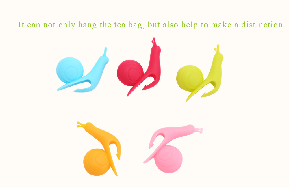 5pcs Colorful Silicone Snail Shape Wineglass Label Mug Cup Teabag Hanging Clip Decoration