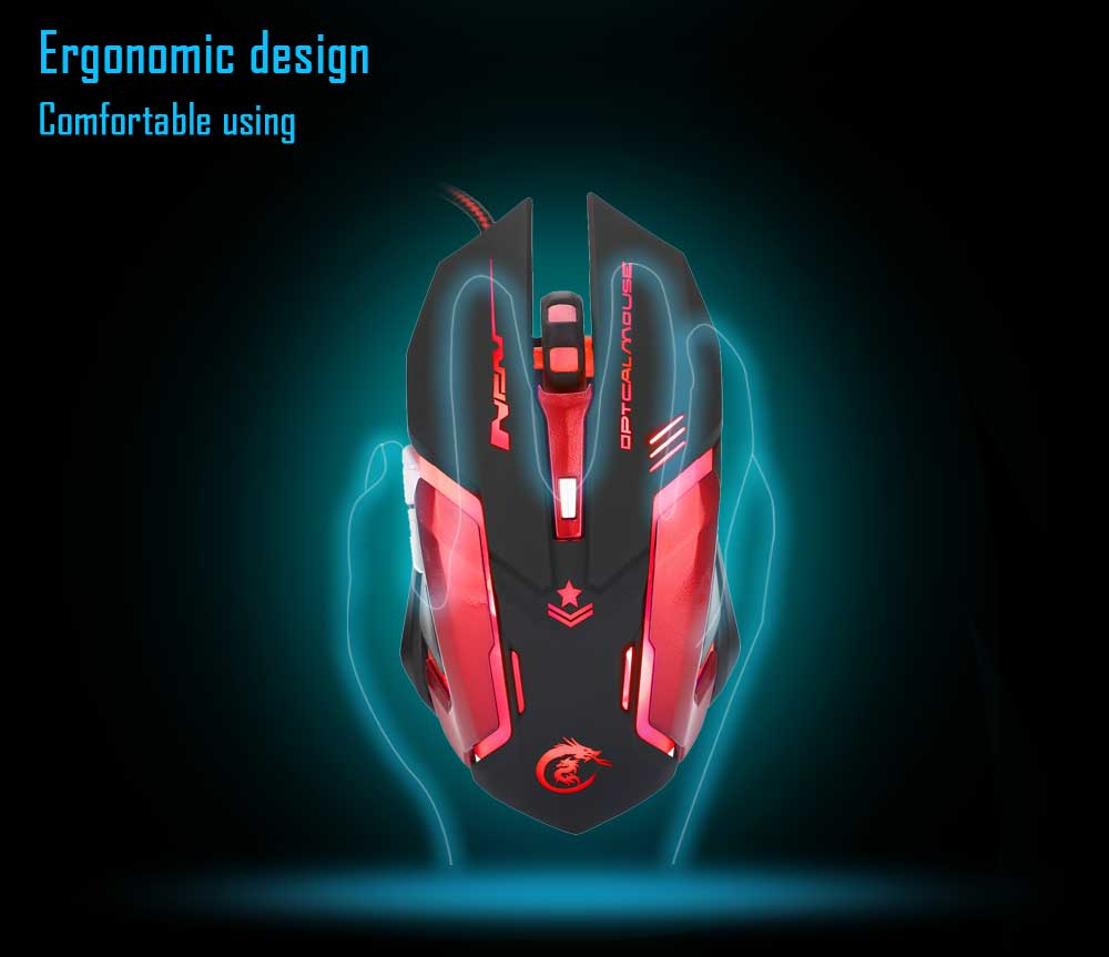 Luce HXSJ H500 Wired LED Mouse Game con sei pulsanti