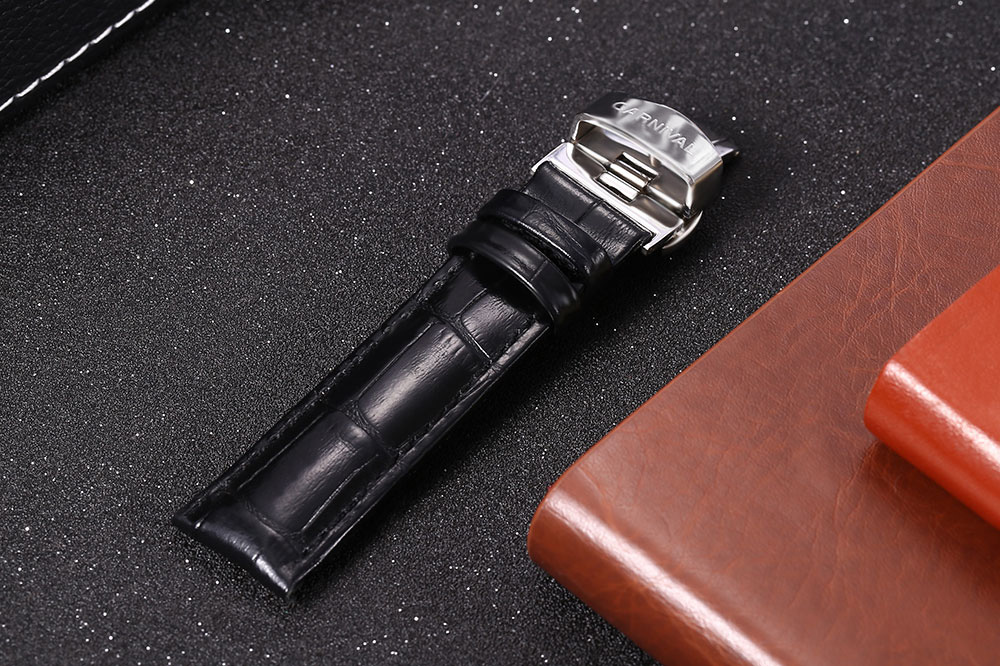 CARNIVAL 18MM Genuine Leather Watch Band Butterfly Clasp Bamboo Joint Wristband