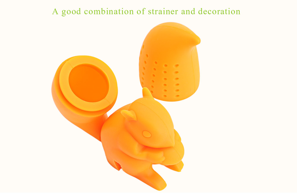 Lovely Novelty Silicone Squirrel Shape Mesh Tea Infuser Reusable Strainer Filter
