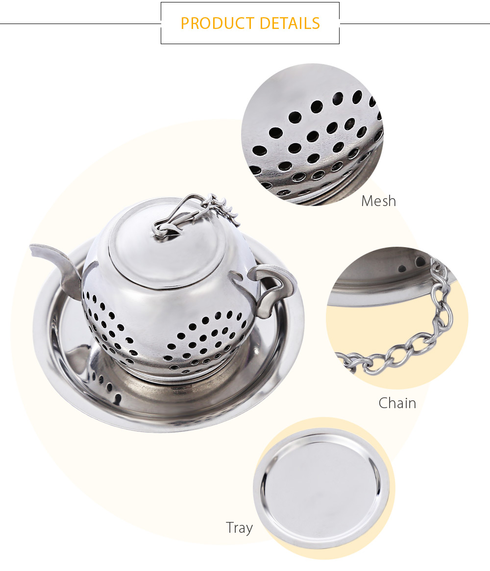 Stainless Steel Teapot Shape Tea Infuser Reusable Strainer Filter with Tray Chain