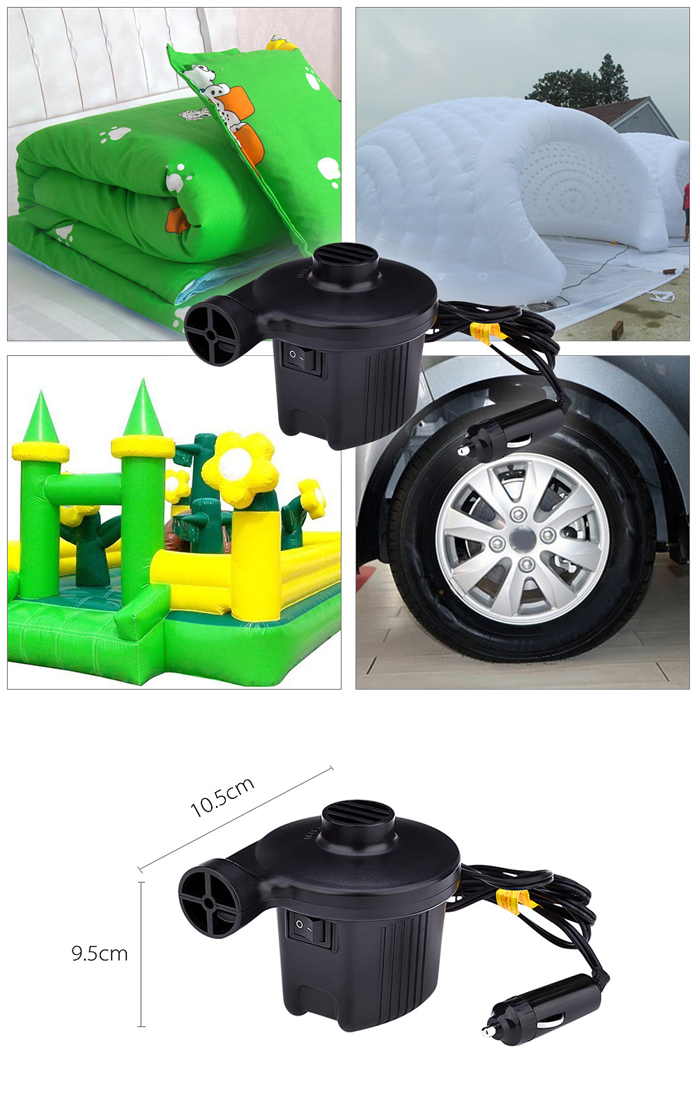 Household Car Electric Air Pump 60W AC DC Power Supply Inflation for Camping Airbed Boat