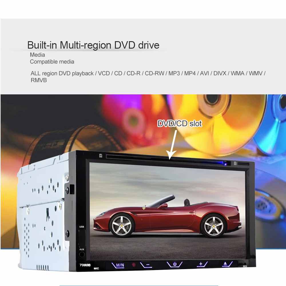 7080B 7 inch Car Audio Stereo DVD Player 12V Auto Video Remote Control Rearview Camera