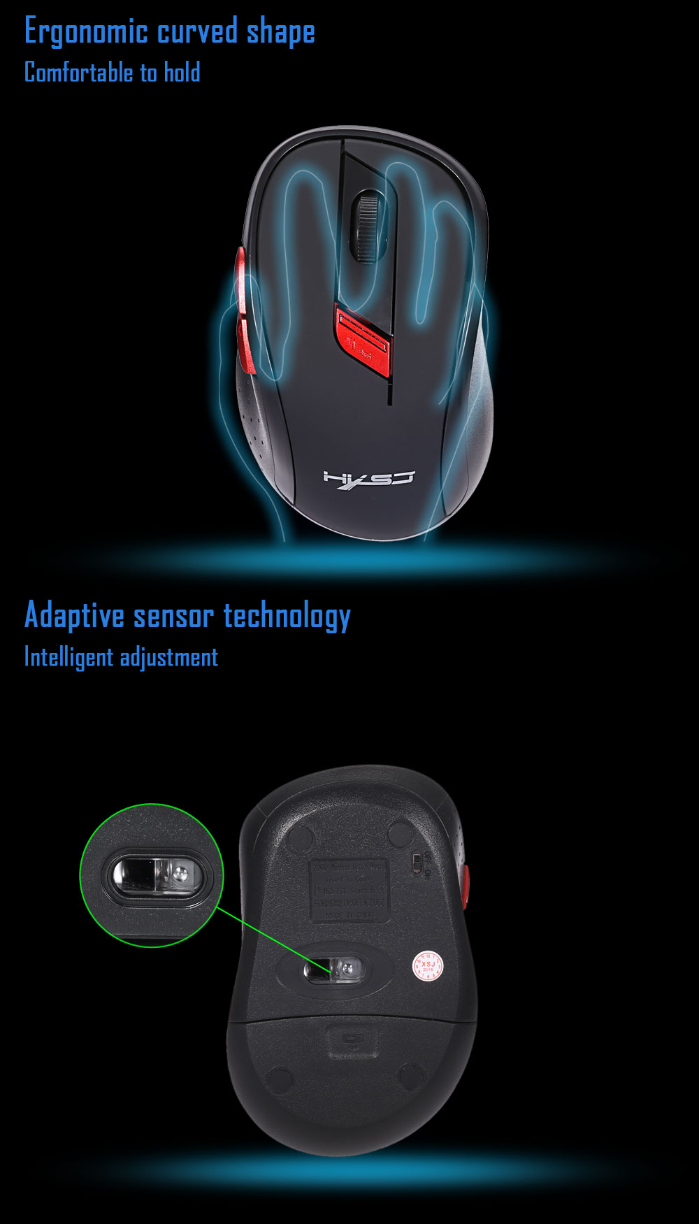 HXSJ X40 2.4GHz Wireless Optical Game Mouse with USB Receiver